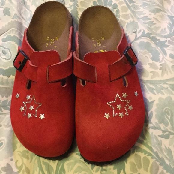 Birkenstock Shoes - Birkenstock Papillio  Boston size 7 red suede.